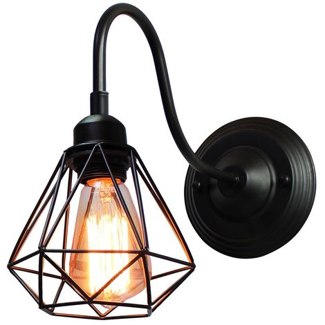 Appliques Murales Industrielle Intérieure Mini Cage Diamant, Lampe Suspension Vintage Luminaire pour Maison Café Loft Cuisine Salon et Chambre Hôtel (Noir)