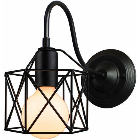 Appliques Murales Industrielle Vintage Intérieure Cage forme Cube en Métal Suspension luminaire pour Salon Chambre Café Bar