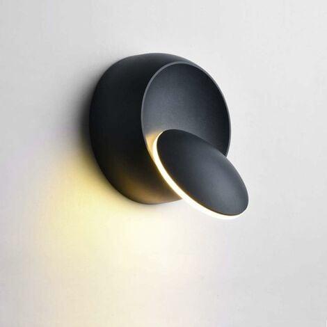 Appliques Murales Interieur LED 5W Blanc Chaud, Moderne Lampe Murale Créatif 2 en 1 Fer Applique Murale Lampe Led (Noir)