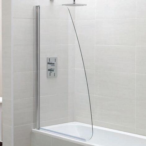 April Identiti2 Single Sail Bath Screen 1400mm High x 800mm Wide 6mm Glass