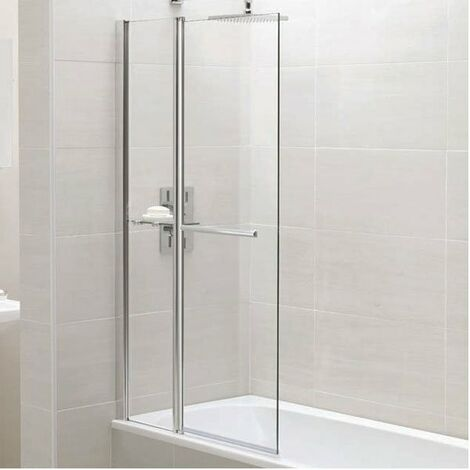 April Identiti2 Square Bath Screen with Fixed Panel 1400mm High x 900mm Wide 6mm Glass