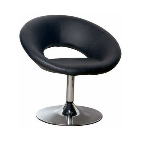 Apson Modern Swivel Chair Black Faux Leather Padded Seat Ultra Chic Stylish Black faux leather