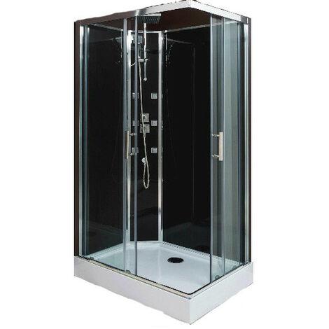 Aqua cabine de douche r versible acc s d 39 angle porte coulissante verre transparent 110x80 - Porte de douche d angle coulissante ...