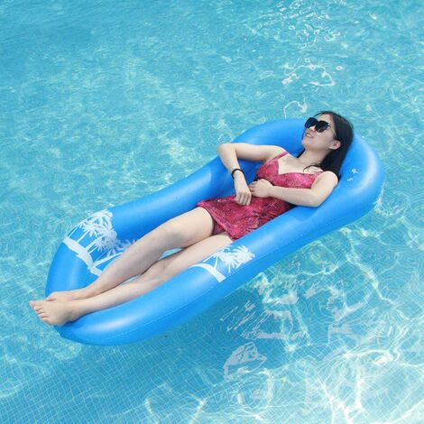 Aqua Lounge with Float Head, Semi-submerged Recliner Lounge Net Inflatable Mattress Swimming Pool Toys for Adults Children Beach Outdoor Lounger (Aqua Lounge Blue)