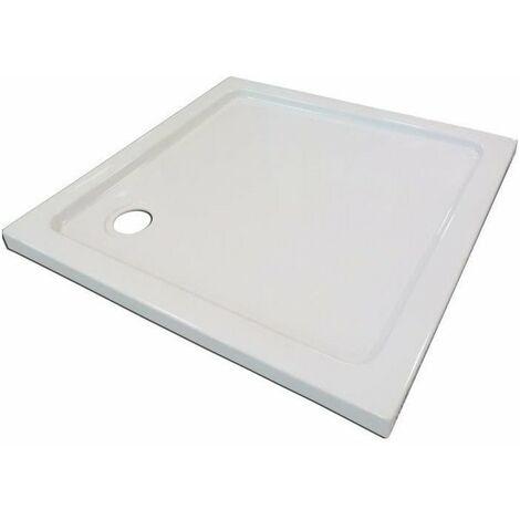 AQUA+ Receveur de douche carré a poser Yqua - 80 x 80 x 5 cm - Acrylique - Blanc
