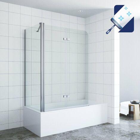 AQUABATOS® Badewannenaufsatz mit Seitenwand Duschabtrennung Duschtrennwand für Badewanne Badewannenfaltwand Duschwand Glas aus 5 mm Sicherheitsglas mit Nanobeschichtung