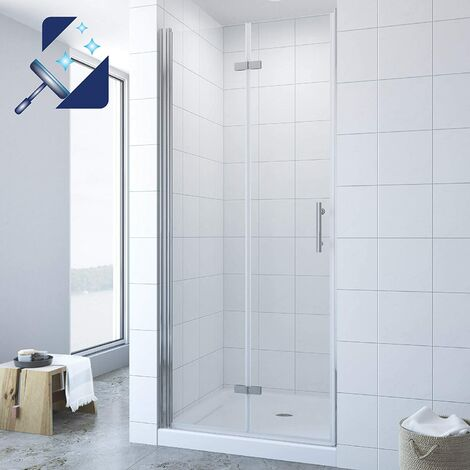 AQUABATOS® Duschtür Falttür Drehfalttür in Nische Nischentür Dusche Faltbar Klappbar Duschabtrennung 6 mm Nano ESG Echtglas Höhe 195 cm Breite 90 cm