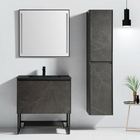 Aquabella, meuble salle de bain 120 cm effet marbre et vasque noir - JINDOLI