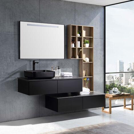 """main image of """"Aquacera, meuble salle de bain noir décalé suspendu vasque noir céramique - JINDOLI"""""""
