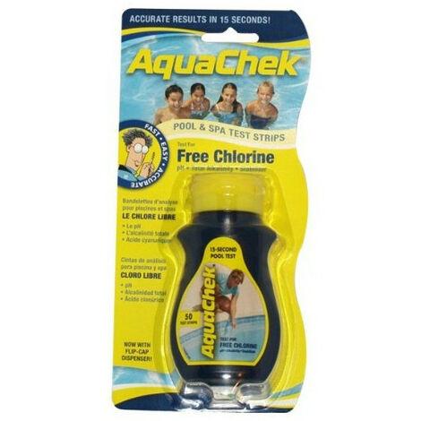 AquaChek Testeur de chlore pour piscine et Spa &Lot de 50 Bandelettes