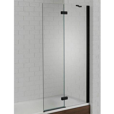 "main image of ""Aquadart Venturi 6 Bath Shower Screen 900mm Hinged Black Right Hand 6mm Glass"""