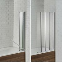 Aquadart Venturi 6 Swiftseal Semi-frameless 4 Fold Bath Screen 6mm - Left Hand