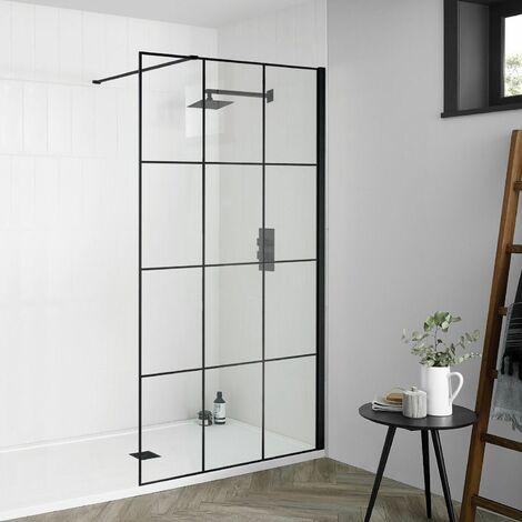 Aquadart Wetroom 8 900mm Black Crittall Grid 8mm Safety Glass Panel Bathroom