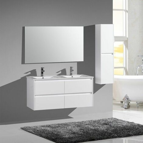 Aquadoli meuble bas avec vasque 2 tiroirs 1200 x 460 x550 mm laque blanc - JINDOLI