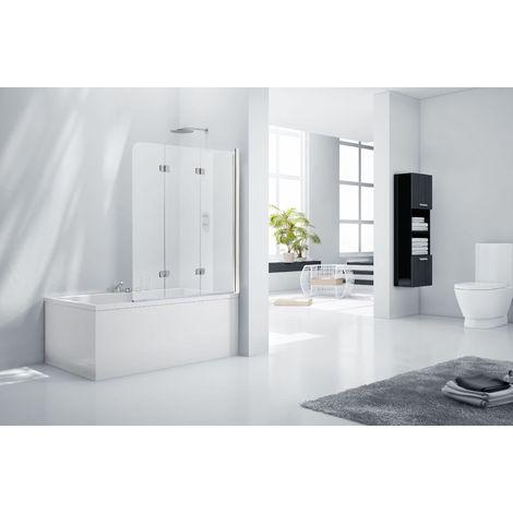 Aquaglass 6mm Frameless 3 Fold Bath Shower Screen - Left Hand