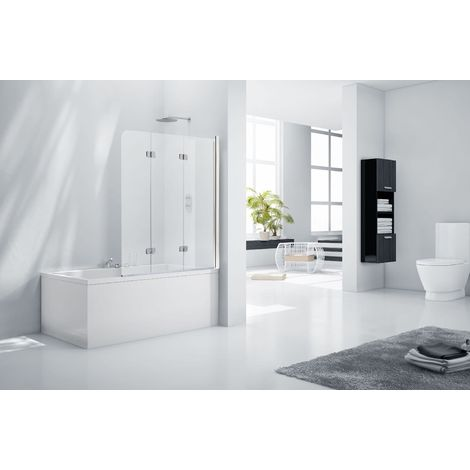 Aquaglass 6mm Frameless 3 Fold Bath Shower Screen - Right Hand