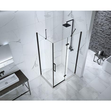 Aquaglass Onyx 8mm Black Framed Hinged Door with Inline Panel 1400mm