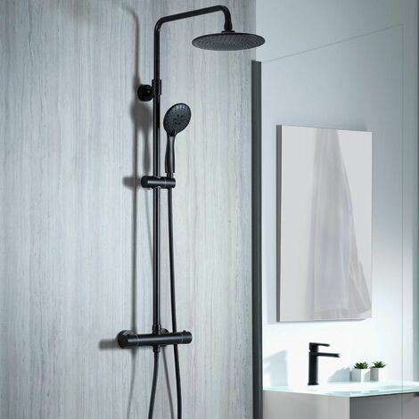 Aqualisa Deco Thermostatic Mixer Shower Round Bar Valve Black DECO.RND.SC.MB