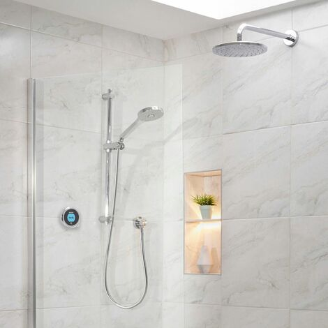 Aqualisa Optic Q Smart Shower Concealed Adjustable Head Fixed Wall Head Chrome