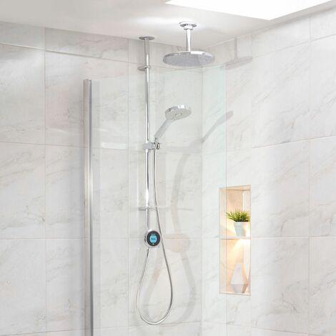 Aqualisa Optic Q Smart Shower Exposed Adjustable Head Fixed Ceiling Head Chrome