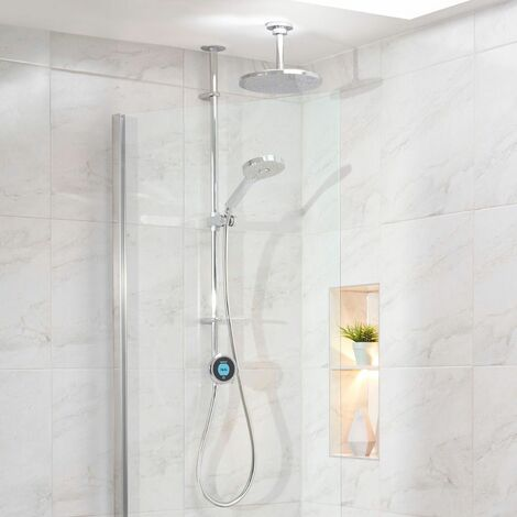 Aqualisa Optic Q Smart Shower Exposed Adjustable Head Fixed Ceiling Head Gravity