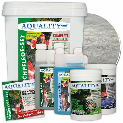 AQUALITY 5er Teichpflege Komplettset (Perfekte Gartenteich-Pflege. Wasseraufbereiter, Teichklärer, Teich-Aktiv und Fadenalgen-Vernichter + GRATIS Filtervlies)