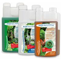 AQUALITY Aquarium Pflanzen-Pflege 3er KOMPLETT-SPAR-SET (GRATIS Lieferung in DE - Pflanzendünger - Eisendünger - CO2 Kohlenstoffdünger für einen perfekten Pflanzenwuchs)