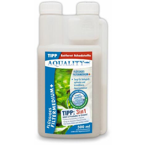 AQUALITY Flüssiges Aquarium Filtermedium+ (Kristallklares Aquariumwasser - Entfernt Schadstoffe - Besserer Pflanzenwuchs - Wasseraufbereiter - Wasseraufbereitung)