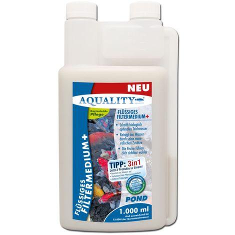 AQUALITY Flüssiges Gartenteich Filtermedium+ (Reinigt durch Mikroorganismen und Mineralien - Für kristallklares Wasser - Entfernt Mulm und Teichschlamm)