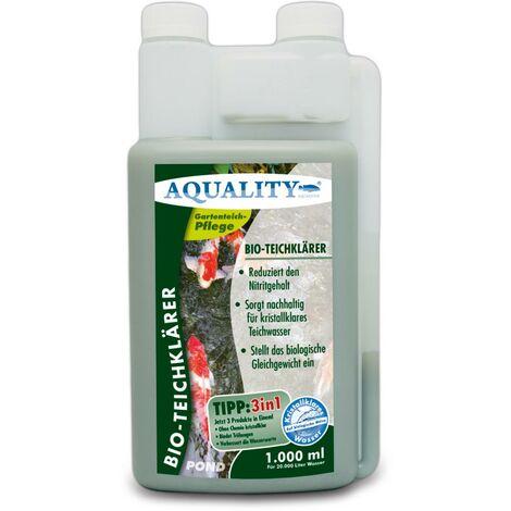 AQUALITY Gartenteich BIO-TeichKlärer 3in1 (Teichklar - Nachhaltig kristallklares Wasser, entfernt deutlich Trübungen im Teich + GRATIS Klarwasser Filtervlies)