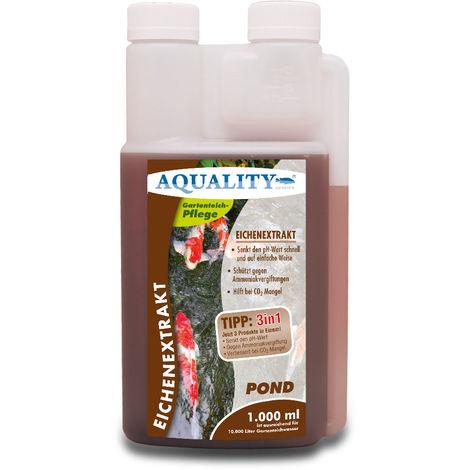 AQUALITY Gartenteich Eichenextrakt 3in1 (Senkt schnell den pH-Wert - Enthält natürliche Huminsäuren - Unterstützt die Algenbekämpfung)