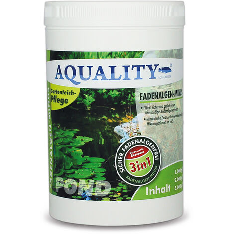 AQUALITY Gartenteich Fadenalgen-MINUS 3in1 (GRATIS Lieferung in DE - Wirkt sicher und gezielt - Fadenalgenvernichter, Algenmittel, Algenentferner. Aktivsauerstoff mit Sofortwirkung)