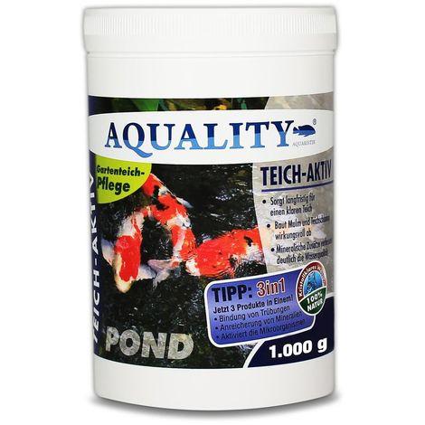 AQUALITY Gartenteich Teich-Aktiv 3in1 (Langfristig klarer Gartenteich - baut Mulm und Teichschlamm ab - verbessert deutlich die Wasserqualität)