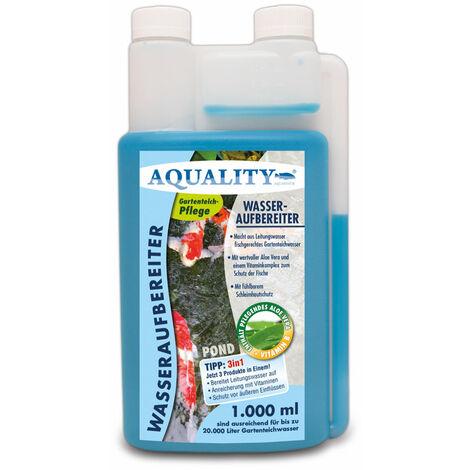 AQUALITY Gartenteich Wasseraufbereiter POND 3in1 (Macht aus Leitungswasser fischgerechtes Teichwasser - Mit Aloe Vera, Vitamine - Schleimhautschutz)