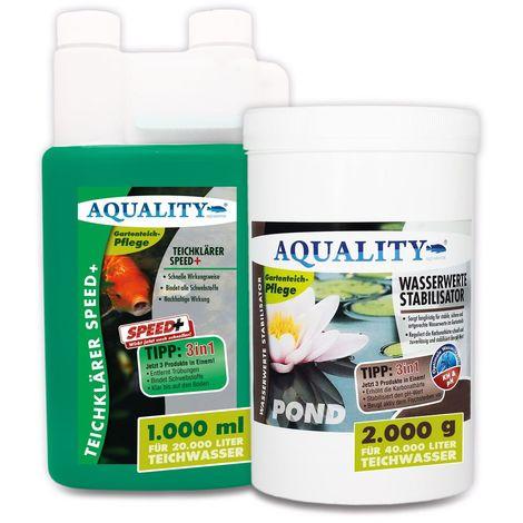 AQUALITY Klarwasser Teichpflege-Komplettset (GRATIS Versand in DE - Set mit Teichklärer und Wasserwerte Stabilisator für einen klaren Gartenteich, nachhaltige Wirkung)