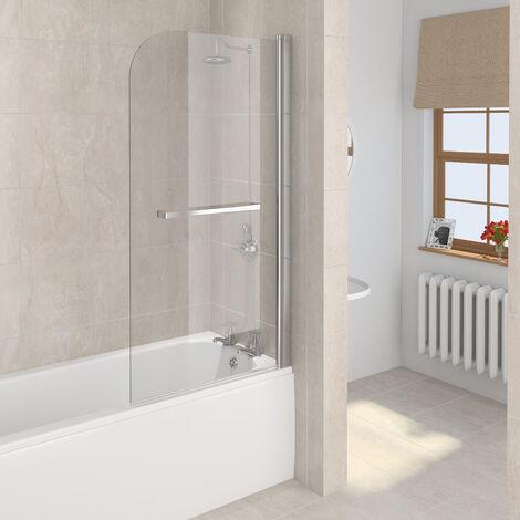 Aqualux 5mm Bath Screen Radius with Towel Rail 800 x 1500mm Silver