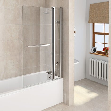 Aqualux 6mm Bath Screen Square with Fixed Panel and Towel Rail 900 x 1500mm Silver