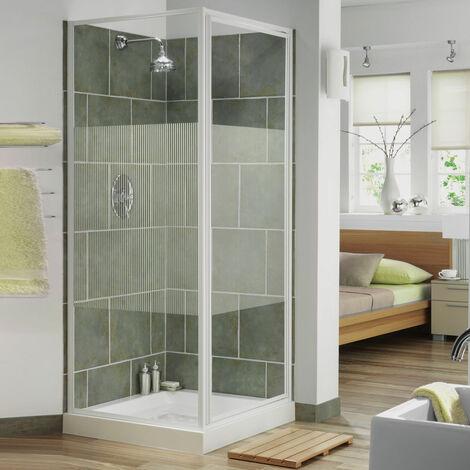 Aqualux AQUA 3 Pivot Door Shower Enclosure 760mm x 760mm White Frame Stripe Glass