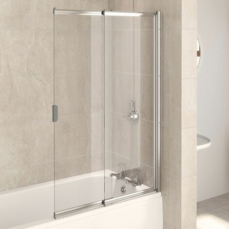 Aqualux AQUA 4 2-Panel Slider Bath Screen, 820mm Wide, Silver Frame, Clear Glass
