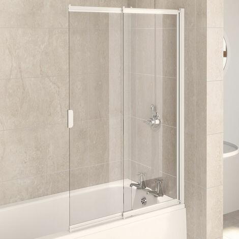 Aqualux AQUA 4 2-Panel Slider Bath Screen, 820mm Wide, White Frame, Clear Glass