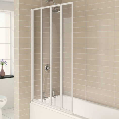 Aqualux AQUA 4 4-Fold Bath Screen, 840mm Wide, White Frame, Clear Glass