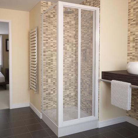 Aqualux AQUA 4 Bi-Fold Door Shower Enclosure 760mm x 760mm White Frame - Clear Glass