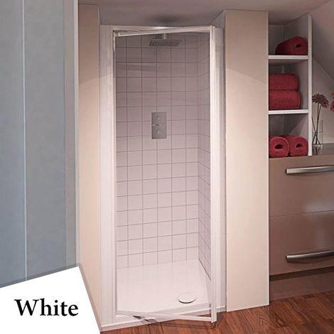 Aqualux AQUA 4 Pivot Shower Door 800mm Wide White Frame - Clear Glass