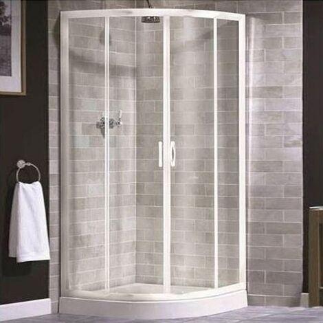 Aqualux AQUA 4 Quadrant Shower Enclosure 800mm x 800mm White Frame - Clear Glass