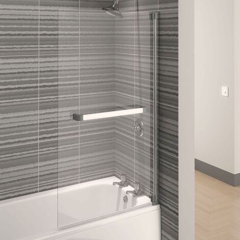 Aqualux AQUA 4 Square Bath Screen, 750mm Wide, Silver Frame, Clear Glass