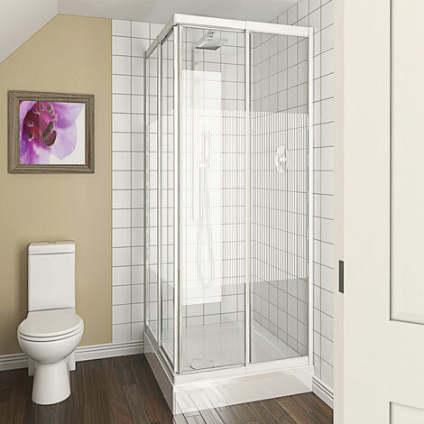 Aqualux AQUA 4 Telescopic Corner Entry Shower Enclosure 900mm x 900mm White Frame - Modesty Glass