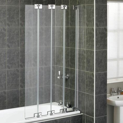 Aqualux AQUA 6 4-Fold Bath Screen, 850mm Wide, Silver Frame, Clear Glass