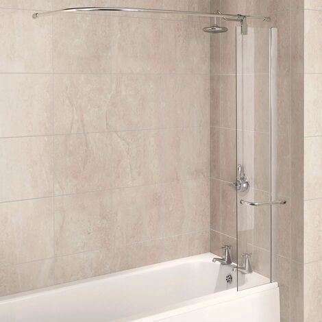 Aqualux AQUA 6 Splash Guard with Rail, 300mm Wide, Silver Frame, Clear Glass