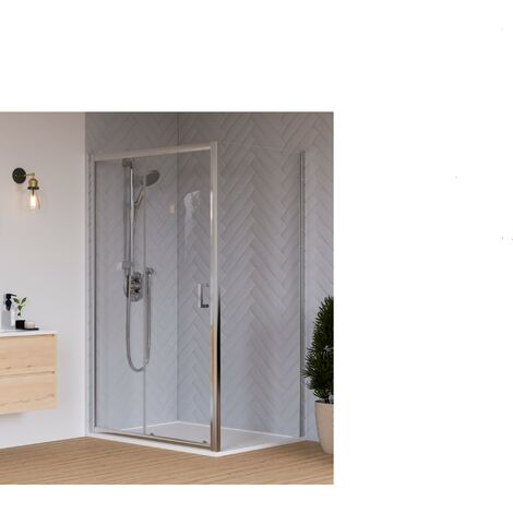 Aqualux HD6 KIT 6mm Sliding Door + Side Panel + Tray + Waste 1700 x 900 x 1935mm Silver Clear Glass