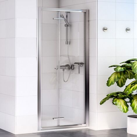 Aqualux Shine 6 Bi-Fold Shower Door 760mm Wide Silver Frame - Clear Glass